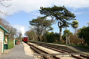 Isle of Man Steam Railway - train in Colby station.jpg