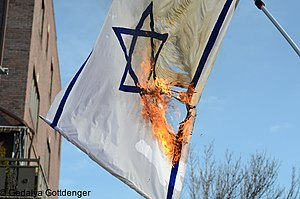 Flag desecration - A non-standard flag of Israel being burned by the ultra-Orthodox Neturei Karta sect.