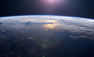 The Blue Planet - July-2003 Sunset over the Pacific Ocean from outer space.