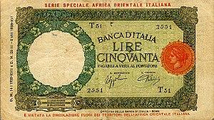 Italian Ethiopia - Image: Italian East Africa P1b 50Lire 1939 f donated