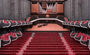 Perth Concert Hall (Western Australia) - View of the auditorium from back stalls towards the stage and organ.