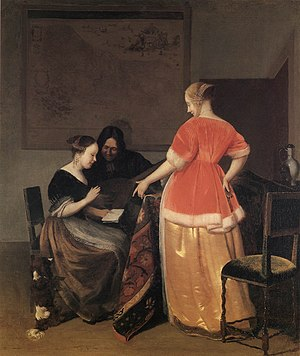Jacob Ochtervelt - Music lesson, 1667
