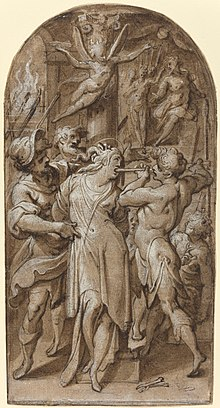 Pen and brown in drawing of Saint Apollonia being restrained,, her mouth open, and teeth being broken by a tool