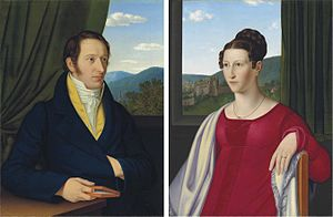 Leopold Gmelin - Gmelin and his wife, portraits by Jakob Schlesinger, 1820