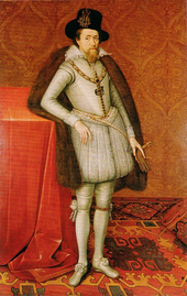 A full-length portrait of a middle-aged man, wearing a grey doublet with grey tights, and brown fur draped over his shoulders