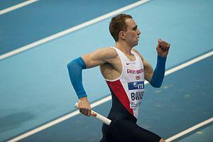 2014 IAAF World Indoor Championships – Men's 4 × 400 metres relay - Jamie Bowie running in the heats for Great Britain.