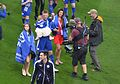 Jamie Vardy and family after victory versus Everton at the King Power Stadium. (26831224691).jpg
