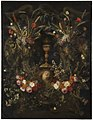 Jan Pauwel Gillemans (I) (Attr.) - A Garland of Flowers Surrounding a Cartouche Containing an Angel's Head and the Holy Sacrament.jpg