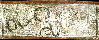 Xibalba - Before the Lords of Xibalba, Xquic is entangled by K'awiil's serpent leg. The female deity could also be identified as the Classic Period Goddess I.