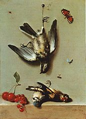 Still Life with Three Dead Birds, Cherries, Redcurrants and Insects