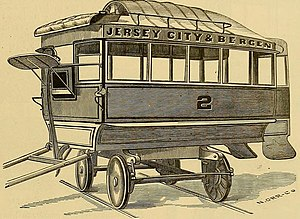 Bergen Section, Jersey City - Jersey City and Bergen horse-drawn tram, 1887