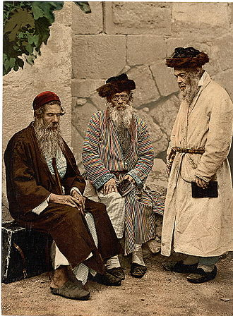 History of the Jews under Muslim rule - Photochrom of Jews in Jerusalem, in the 1890s.