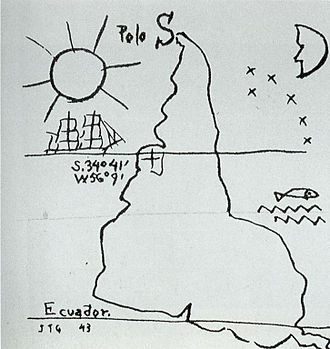 "South-up map orientation - Joaquín Torres García's ""América Invertida"""