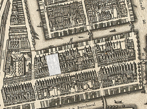 Map by Balthasar Florisz van Berckenrode (1625) with the present location of the Moses and Aaron Church in white, but also the spot where Spinoza grew up. Jodenbreestraat Amsterdam from a map of 1625.png