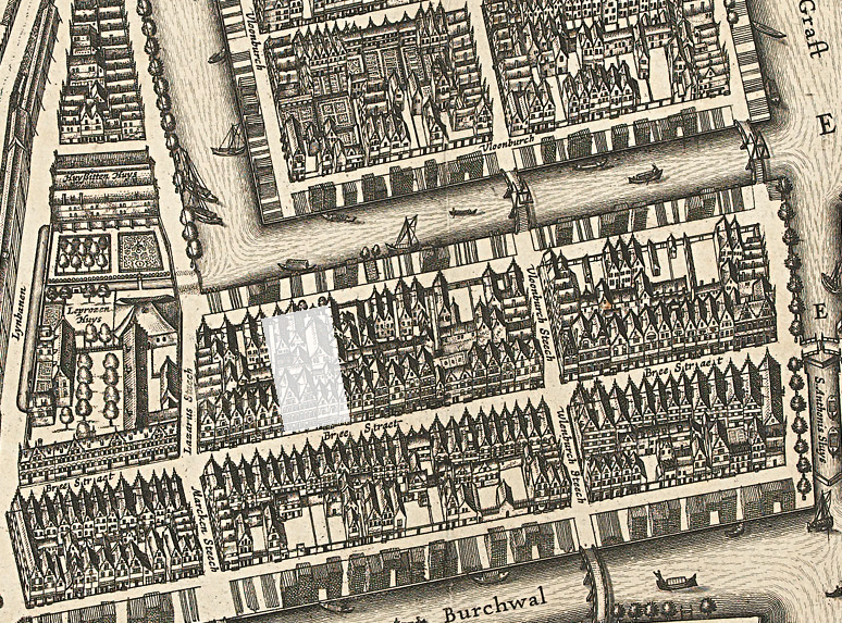 Jodenbreestraat Amsterdam from a map of 1625