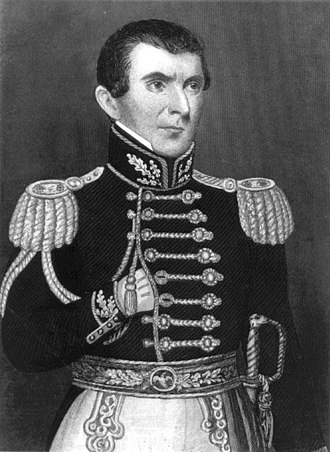 John C. Bennett - Engraving of John C. Bennett in a Hand-in-waistcoat pose in his role as Major General of the Nauvoo Legion