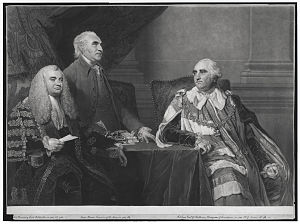 John Dunning, 1st Baron Ashburton - Engraving of a 1782 portrait by Sir Joshua Reynolds of John Dunning (later 1st Baron Ashburton) (left); Isaac Barré, Treasurer of the Navy in 1782 (centre); William Petty, 2nd Earl of Shelburne, Prime Minister 1782-3 (right)