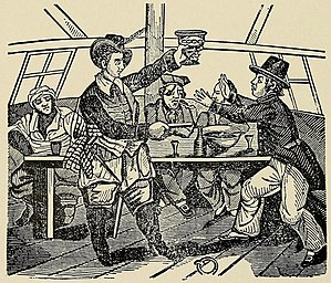 John Phillips (pirate) - John Phillips forces a captive to drink alcohol.  Engraving from The Pirates' Own Book.