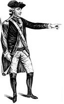 Full length print of a man in an 18th century military uniform and tricorne hat. He holds a sword in his right hand while pointing with his left.