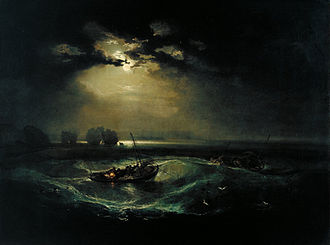 J. M. W. Turner - Fishermen at Sea, exhibited in 1796 was the first oil painting exhibited by Turner at the Royal Academy.