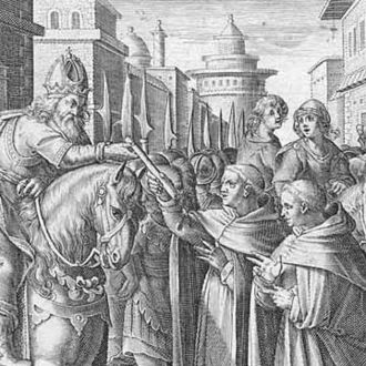 History of silk - The monks sent by Justinian give the silkworms to the emperor.