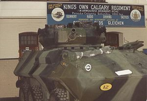 The King's Own Calgary Regiment (RCAC) - KOCR unit lines with Cougar c1980