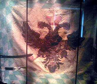 Imperial Army (Holy Roman Empire) - An imperial Bavarian flag in 1745. The imperial eagle on a gold field was stitched onto the flag of the Electorate of Bavaria. Musée de l'Armée, Paris, taken in 2010