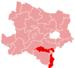Location of the Wiener Neustadt district in Lower Austria