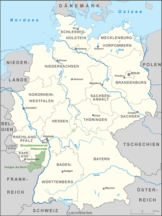 Palatinate Forest-North Vosges Biosphere Reserve - Location of the biosphere reserve in Germany and France