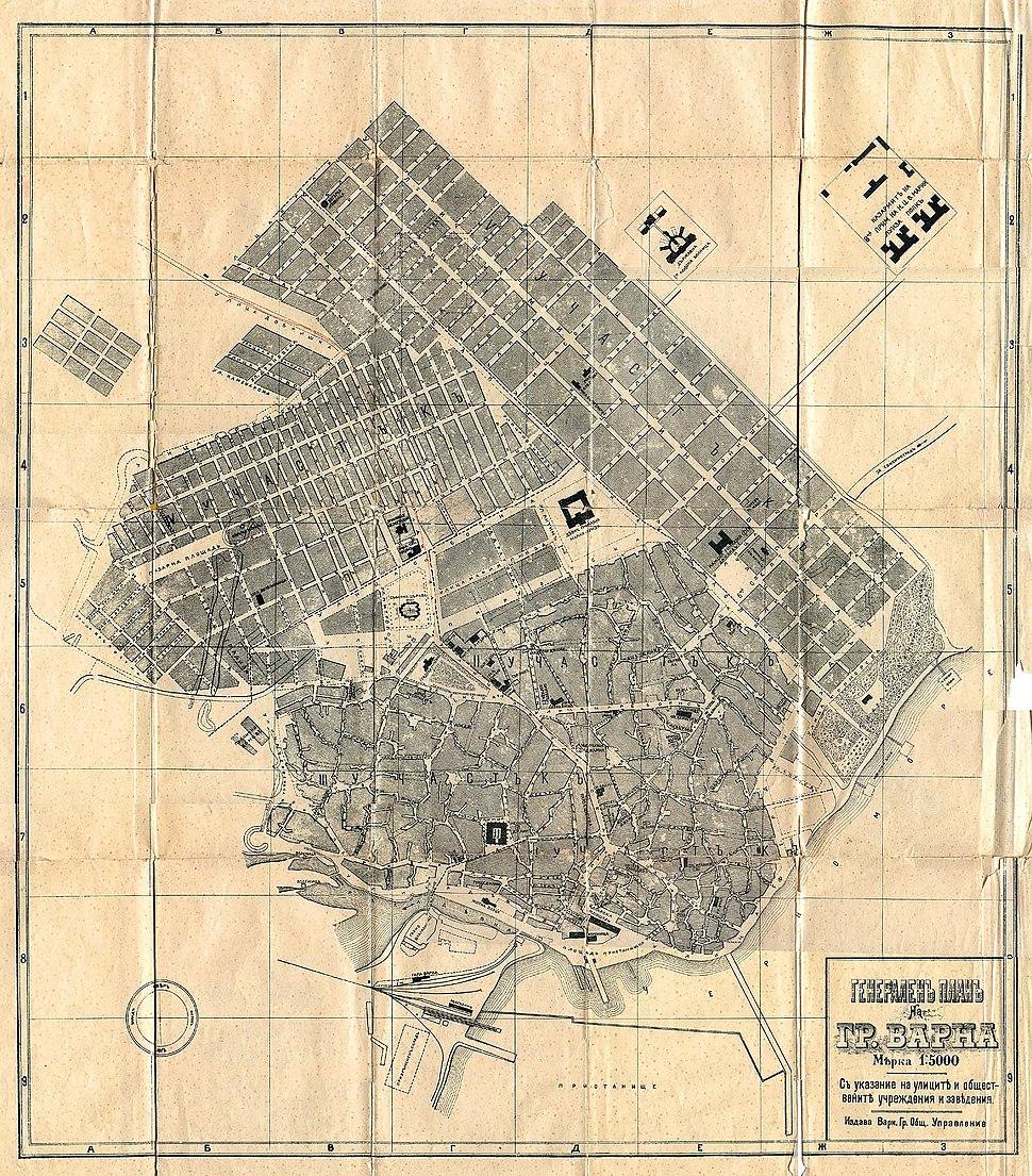 Karte der Stadt Warna 1897