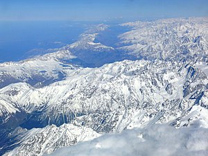 Caucasus Mountains - Aerial view of the Caucasus Mountains