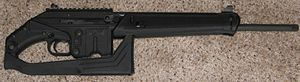 English: Kel-Tec SU-16C with stock in folded p...