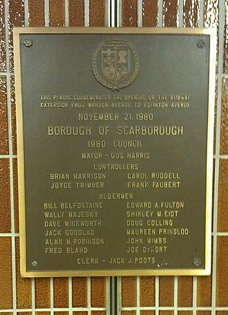 Line 2 Bloor–Danforth - Plaque at Kennedy station commemorating the extension of the line