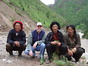 Kham - Kham men with western tourist