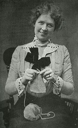 Hand knitting - A woman in the process of knitting
