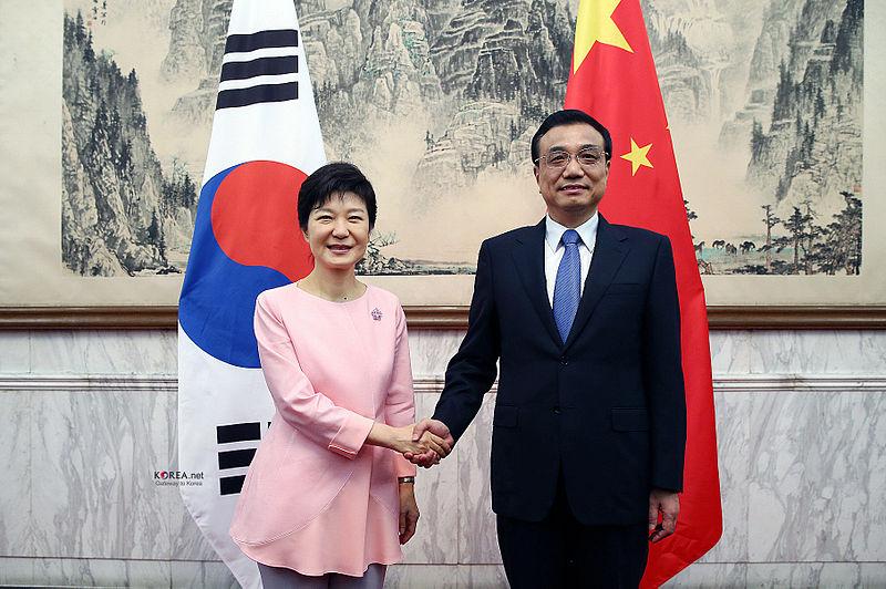 Korea President Park PrimeMinister LiKeqiang 20130628 01.jpg