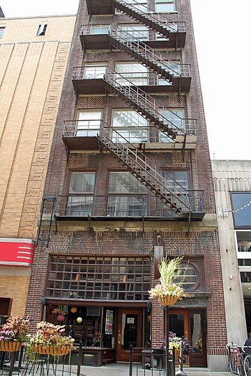 Fire escape at the Krause Building on East 4th Street, Cleveland. Krause Bldg.jpg