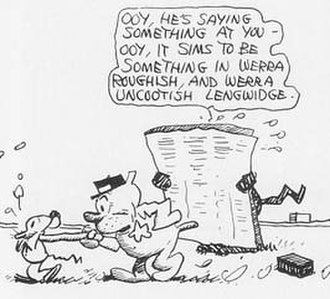 Krazy Kat - Ignatz being marched off by Officer Pupp for trying to throw a brick at Krazy Kat. Behind the newspaper, Krazy is reading and describing aloud the very same cartoon in which they are all appearing.