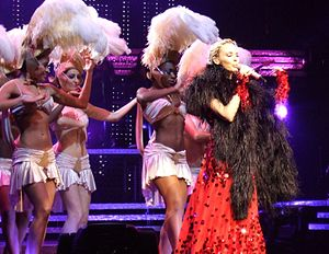 "Chocolate (Kylie Minogue song) - Minogue performing ""Chocolate"" during Showgirl: The Homecoming Tour (2006)."