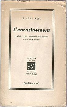 L'enracinement, Simone Weil, Gallimard.jpg