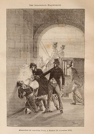 Juan Prim, 1st Marquis of los Castillejos - Image: Léo Taxil Mystères de la Franc Maçonnerie gravure 82