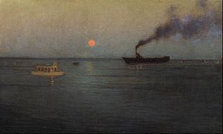 Rosy Moon Off Charleston Harbor