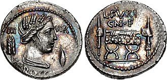 Furia (gens) - Denarius of Lucius Furius Brocchus, 63 BC.  The obverse features the head of Ceres, with a corn-ear on the left and a barley-grain on the right.  On the reverse is a curule chair surrounded by fasces.