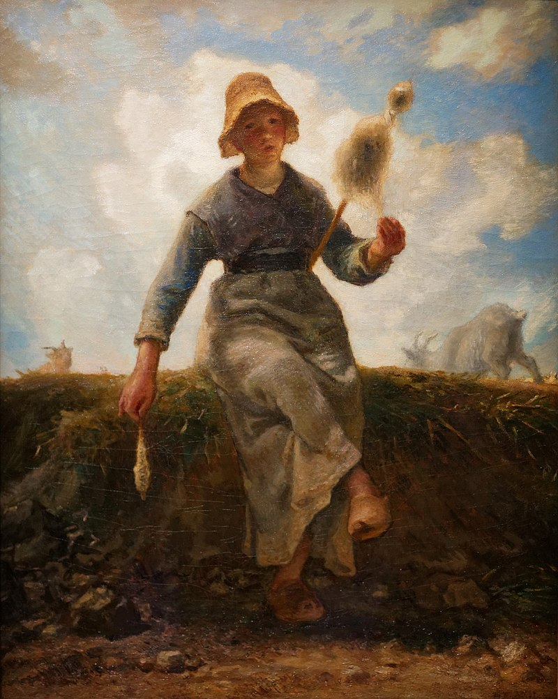 La fileuse, chevrière auvergnate de Jean-François Millet (1868-1869, musée d'Orsay).  (définition réelle 1576×1974)