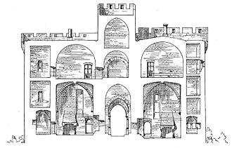 Fort Saint-André (Villeneuve-lès-Avignon) - East-west section through the gatehouse looking north