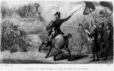 A depiction of the Champ de Mars massacre with Lafayette at center with sword Lafayette fires on the Cordeliers Club.jpeg