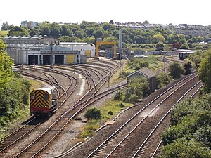 Laira Traction & Rolling Stock Maintenance Depot - Looking south from Laira Flyover