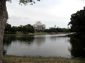 Oak Cliff - Downtown Dallas as seen from Lake Cliff Park.
