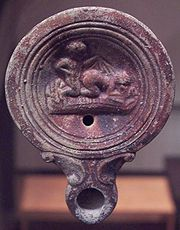 Oil lamp artifact depicting coitus more ferarum