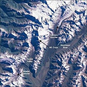 Mueller Glacier - Satellite picture of the Mount Cook region, identifying the Mueller Glacier in the bottom left.